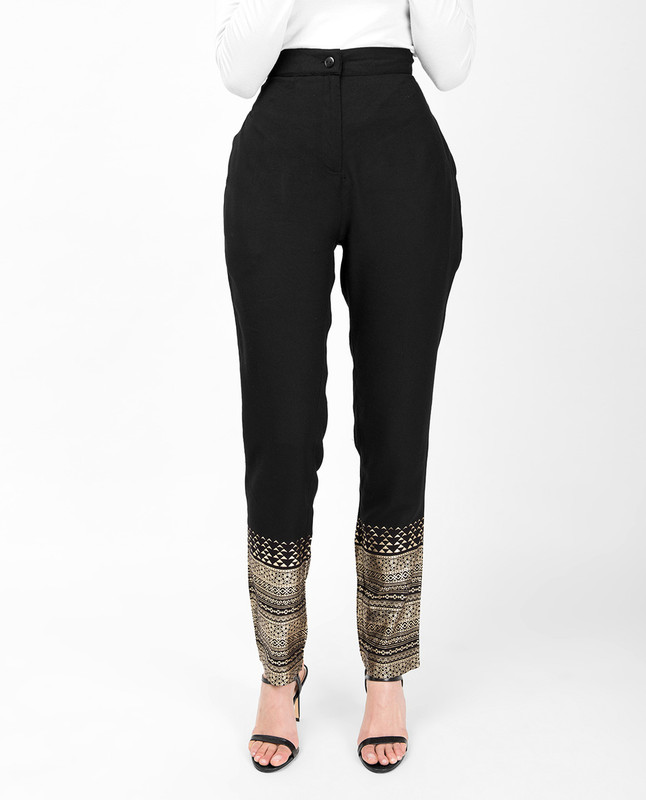 Gold Print Black Trouser