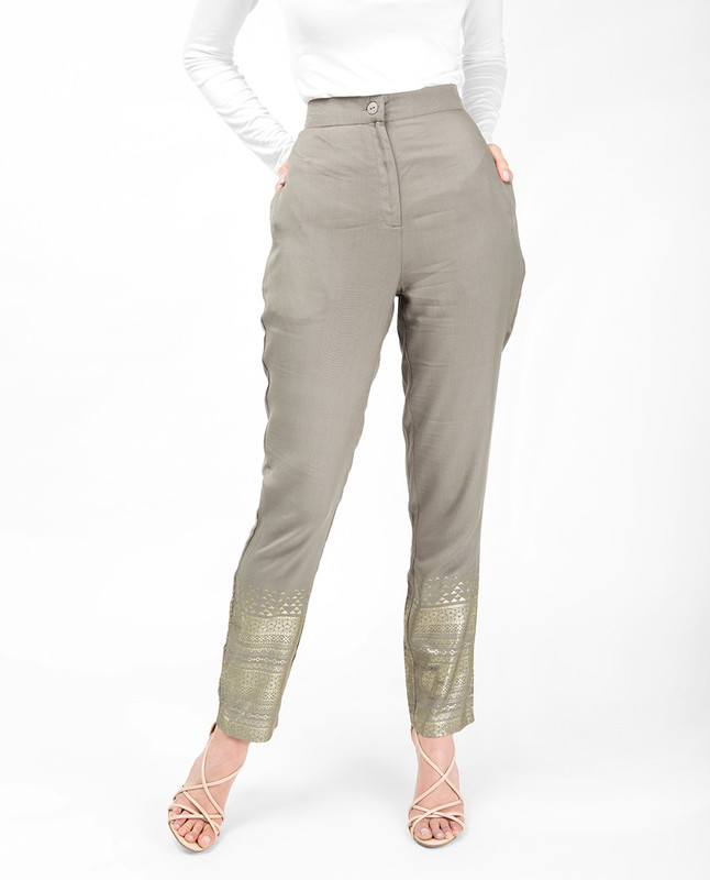 Gold Print Beige Trouser