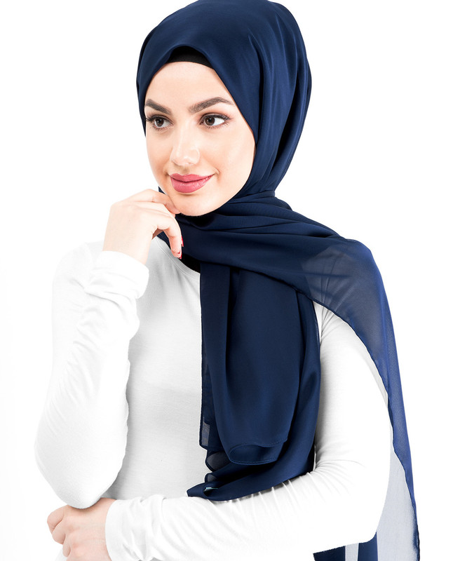 New Peacoat Silky Poly Georgette Hijab