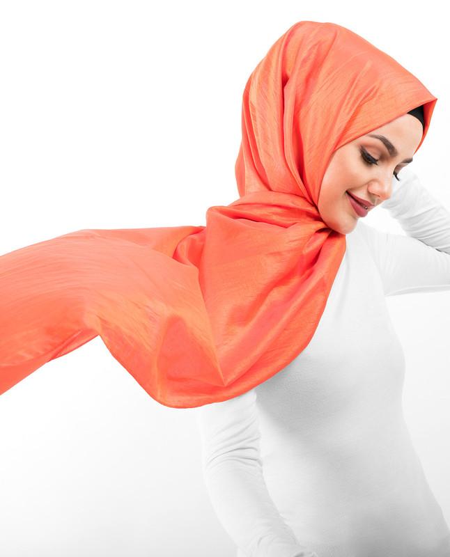 New Mandarin Orange Shiny Silky Polyester Hijab