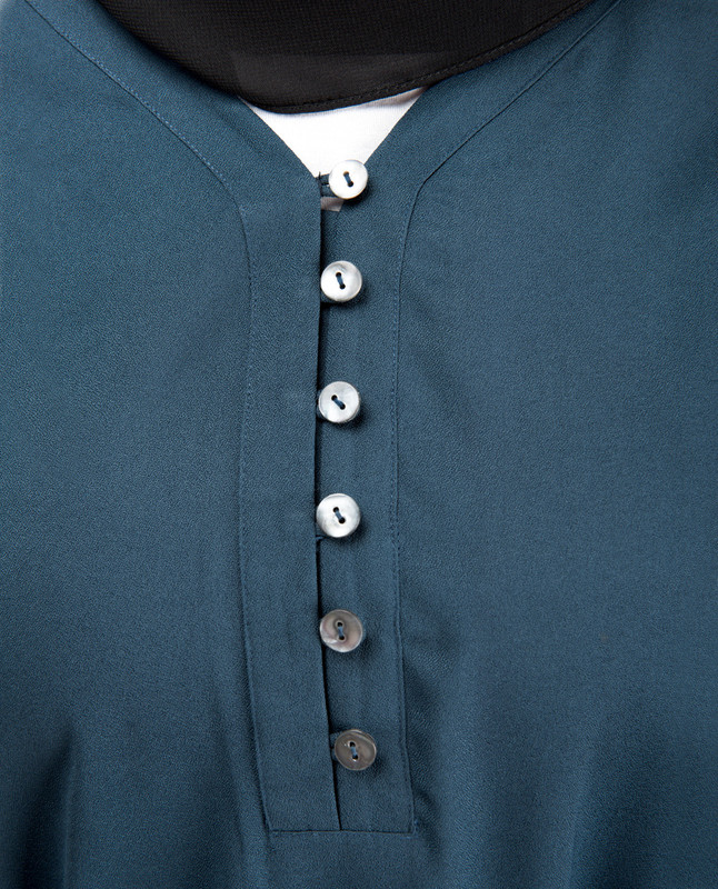 Bell Cuff Blue Midi Dress