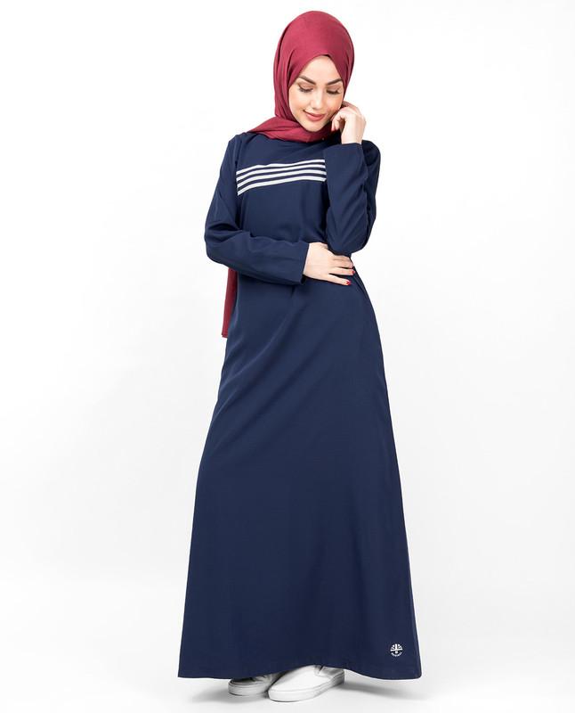 Navy & White Contrast Striper Jilbab