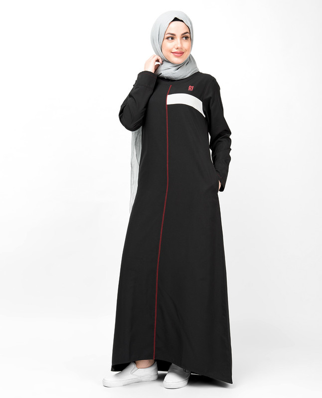 Black Contrast Trim High Low Jilbab