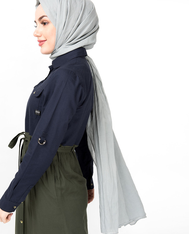 Flared Contrast Skirt Look Abaya