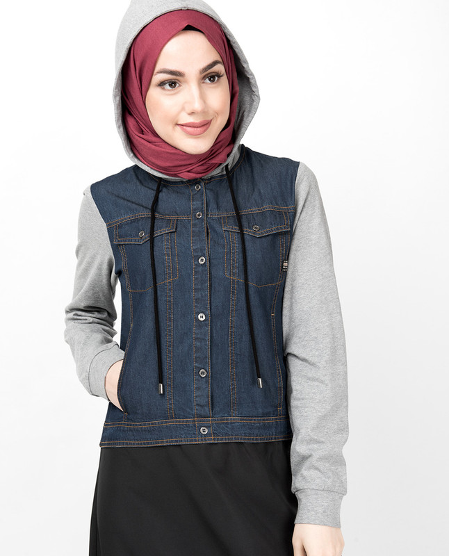 Hooded Jersey & Denim Jilbab