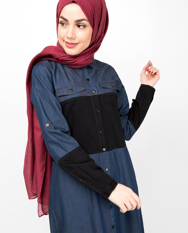 Blue & Black Full Front Open Denim Abaya