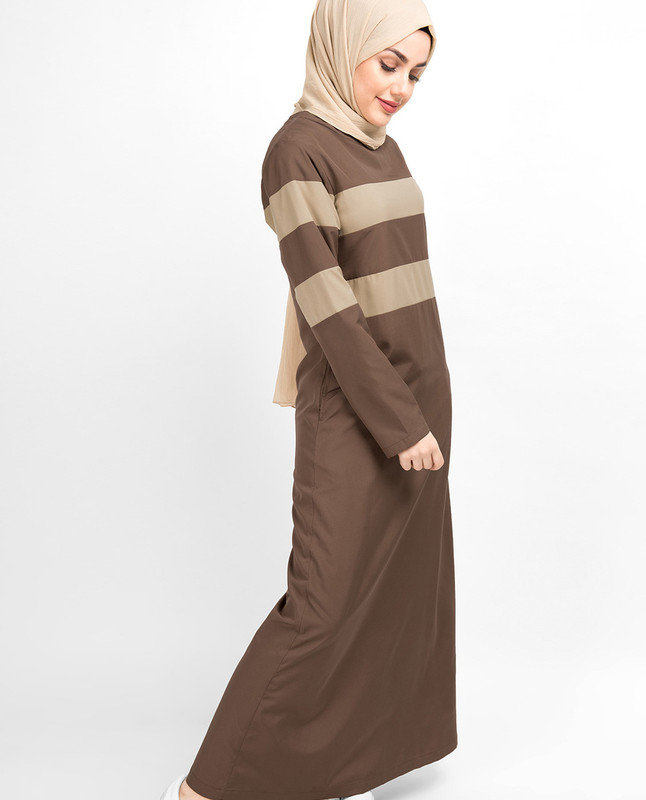 Brown Contrast Striper Jilbab