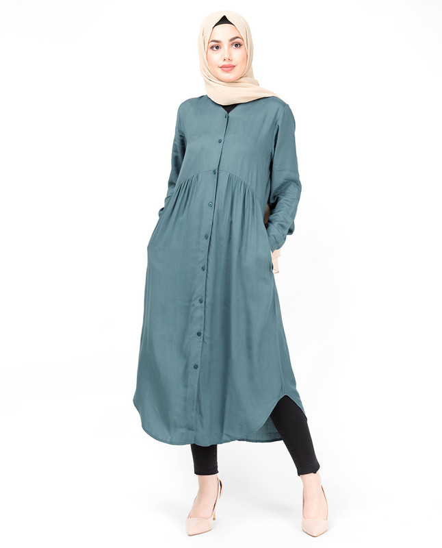 Blue Full Front Open High Low Shirt Dress