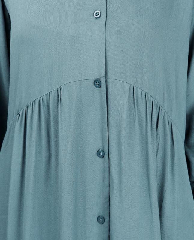 Blue Full Front Open High Low Shirt Dress
