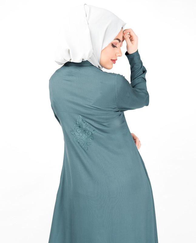 Smoke Blue Embroidered High Low Midi Dress