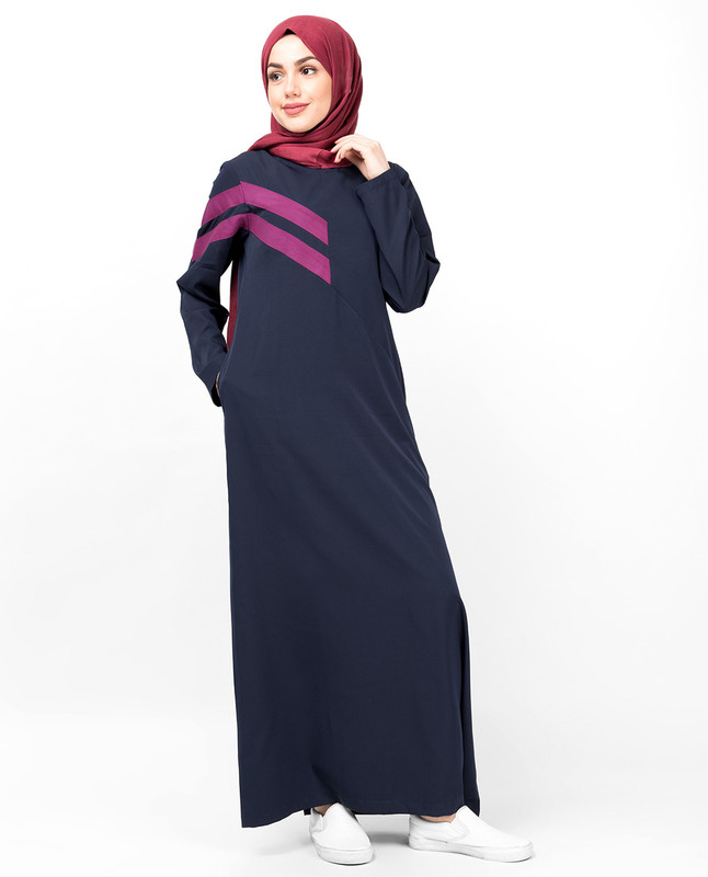 Double Stripe Navy Casual Jilbab