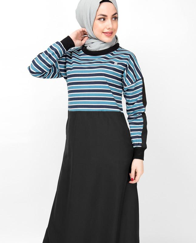 Blue Tonal Striper Jilbab