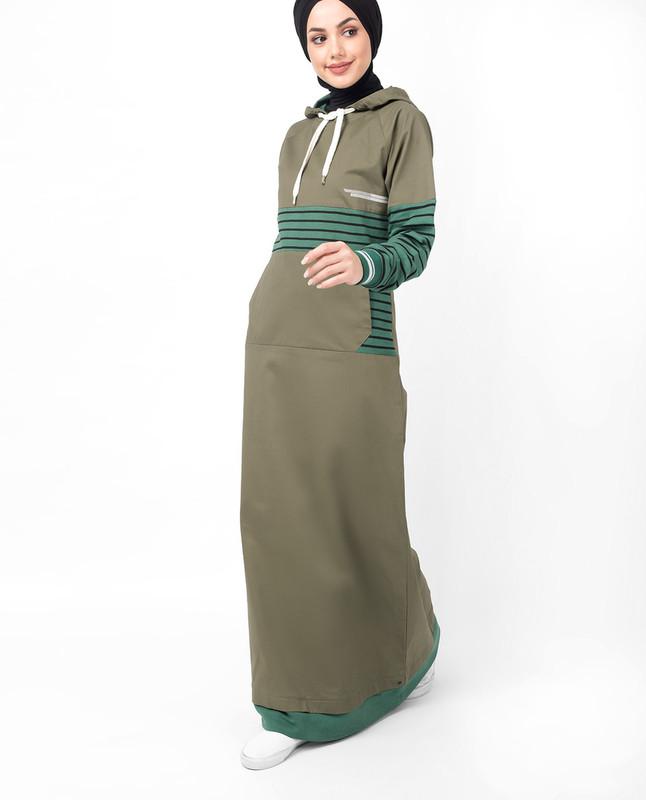Khaki Casual Hooded Jilbab