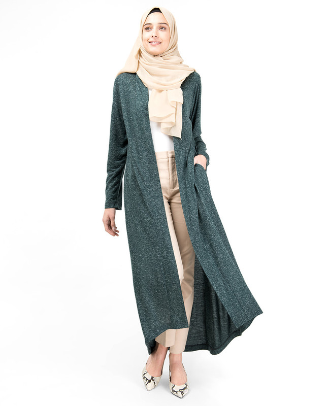 Green Slub Full Front Open Outerwear