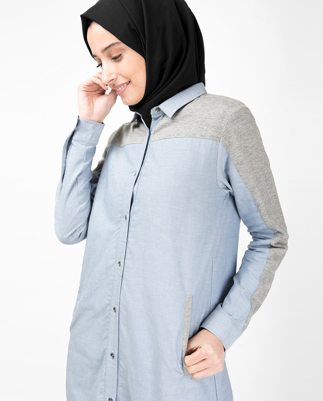 Blue & Grey Mix Fabric Long Shirt Dress