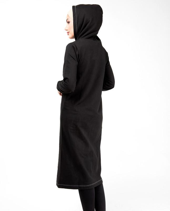 Stone Zip Long Black Hoodie