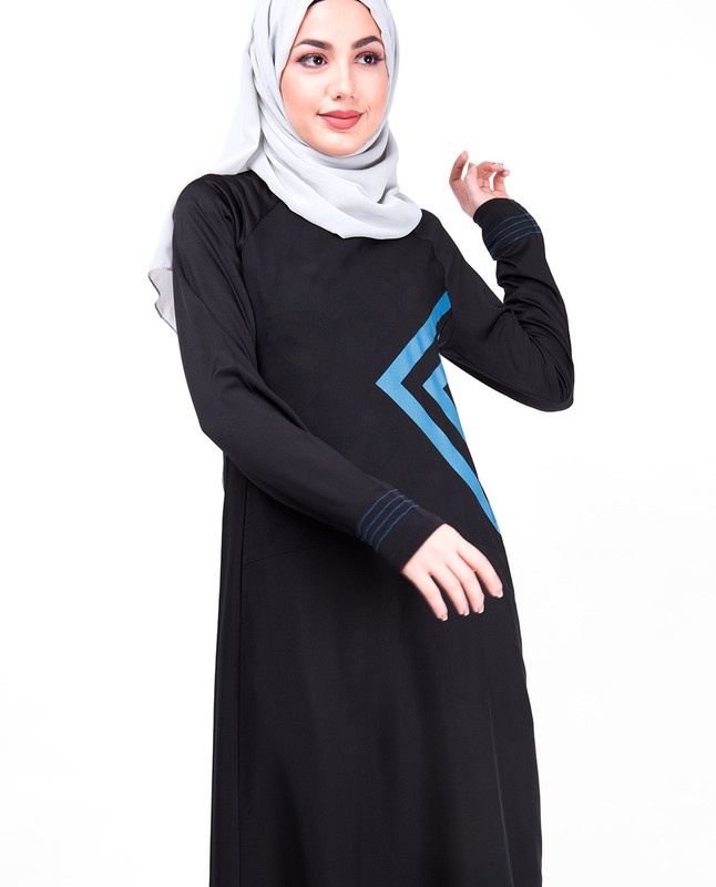 Ebony & Blue Print Sporty Jilbab