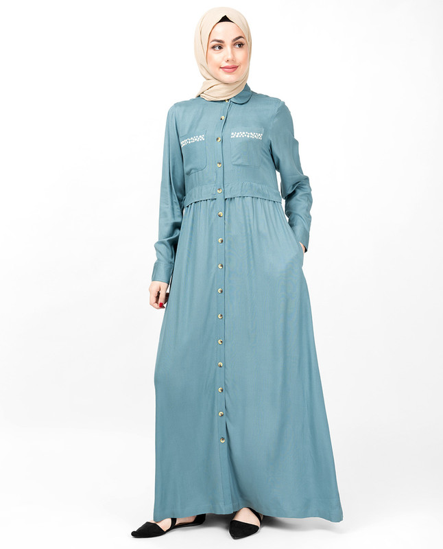 Smoke Blue Full Front Open Layered Abaya
