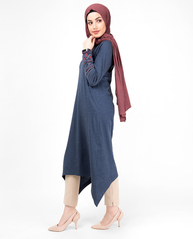 Blue Melange Embroidery Modest Top