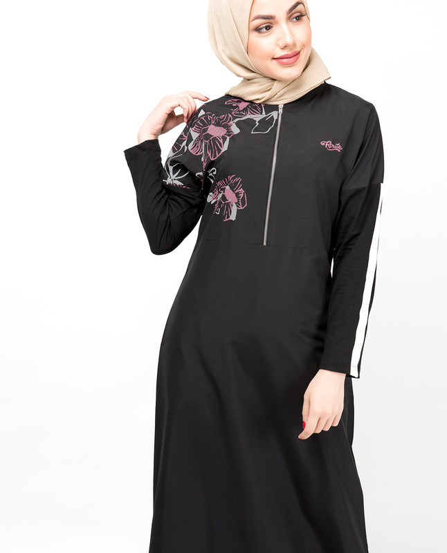 Black Dropped Shoulder Floral Jilbab