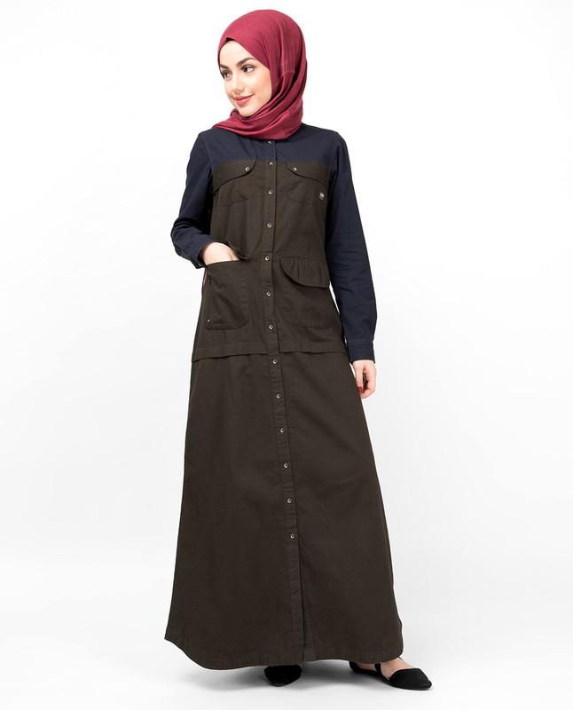 Navy & Olive Full Front Open Abaya