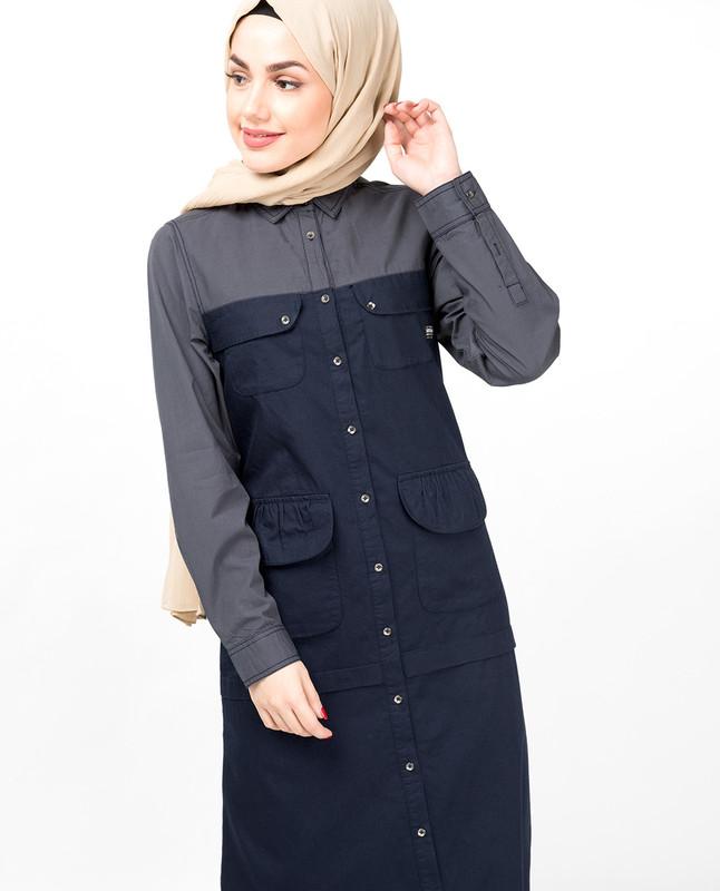 Navy & Grey Full Front Open Abaya