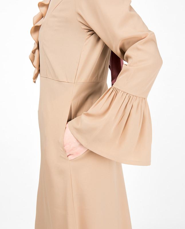 Lightweight Ruffle Neck Sand Abaya