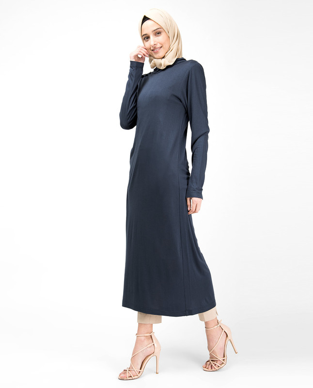 Blue High Neck Long Top