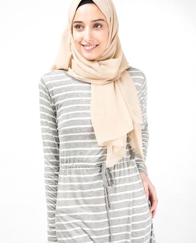 Grey Striped Maxi Dress