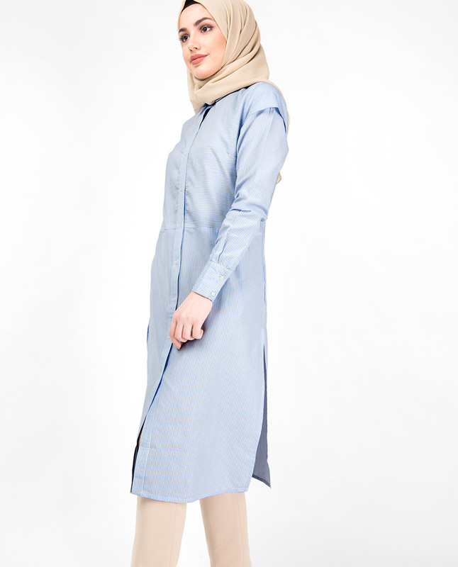 Full Front Open Breton High Low Shirt Dress