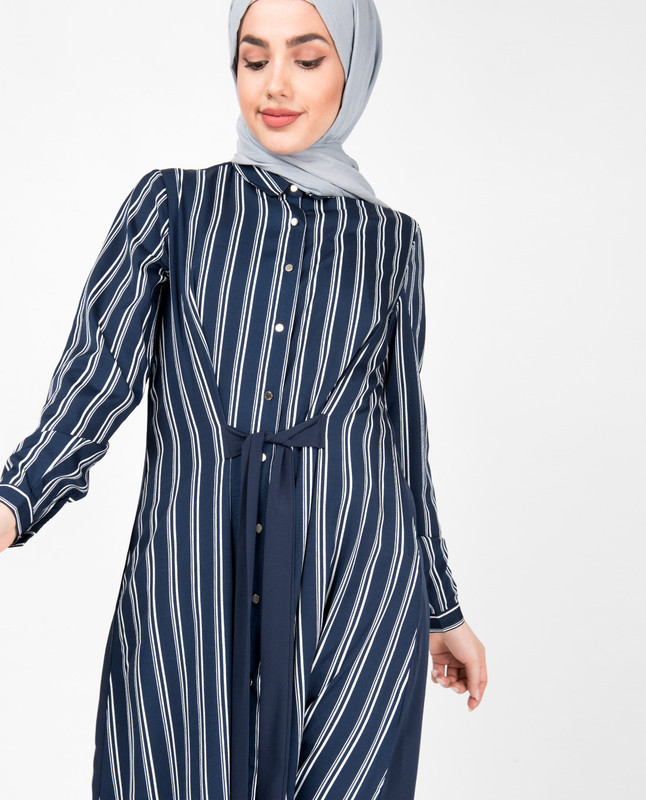 Navy & White Striper Modest Shirt Dress