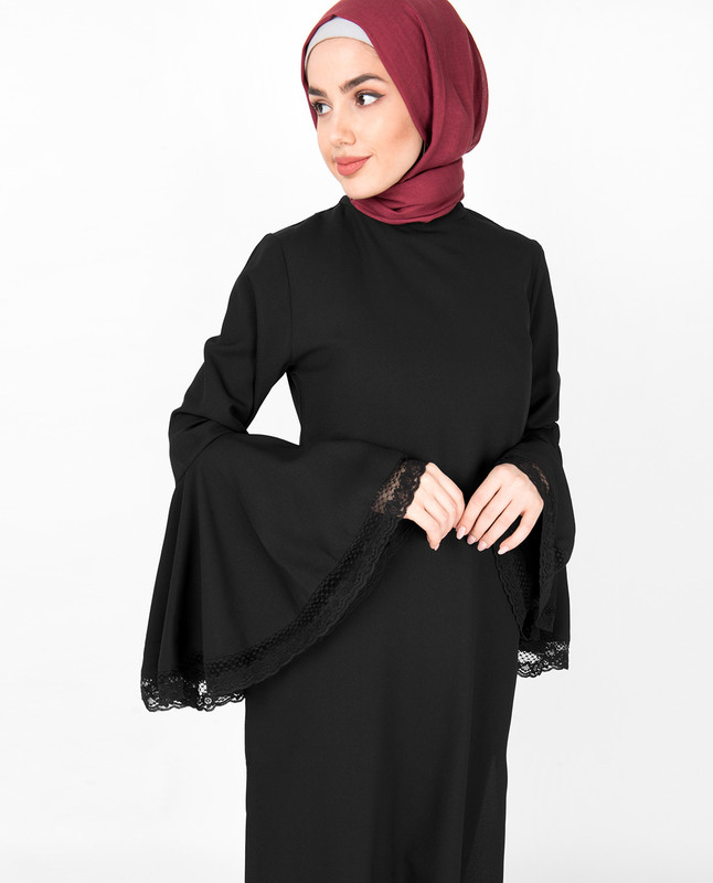 Black Bell Sleeve Lace Midi Dress