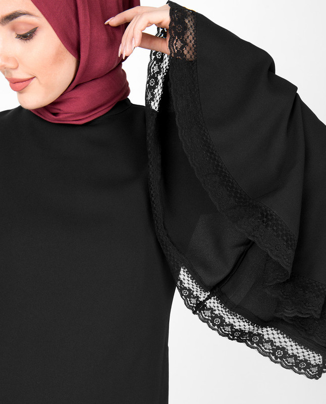 Black Bell Sleeve Lace Midi Dress