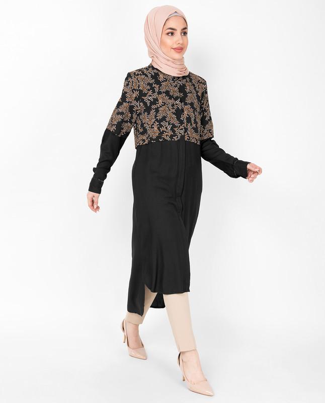 Floral Printed High Low Shirt Dress