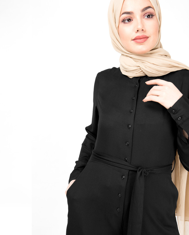 Black Front Button Opening Jumpsuit