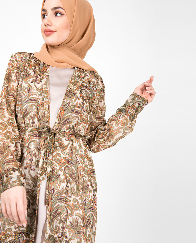 Brown Paisley Printed Full Front Open Outerwear
