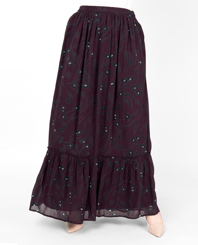 Plum Floral Gathered Skirt