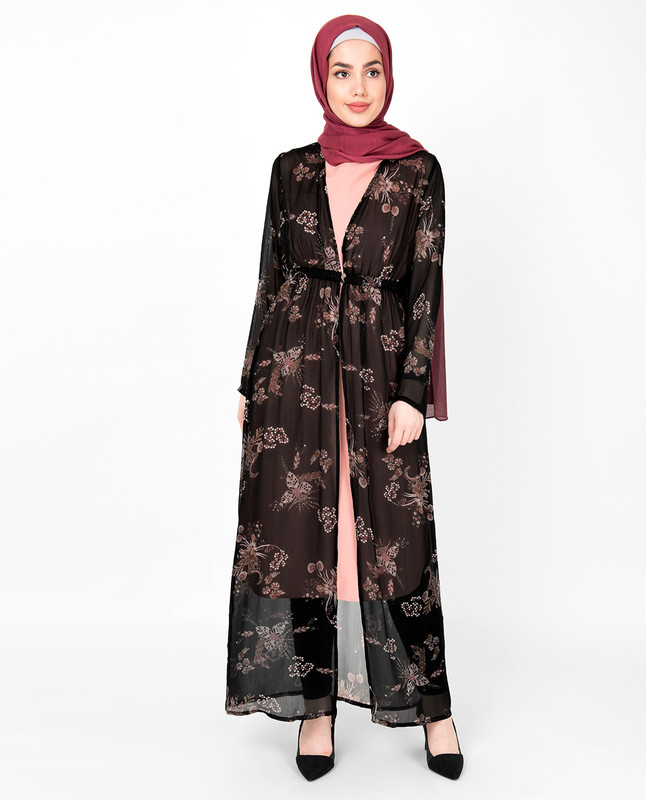 Black Floral Sheer Outerwear