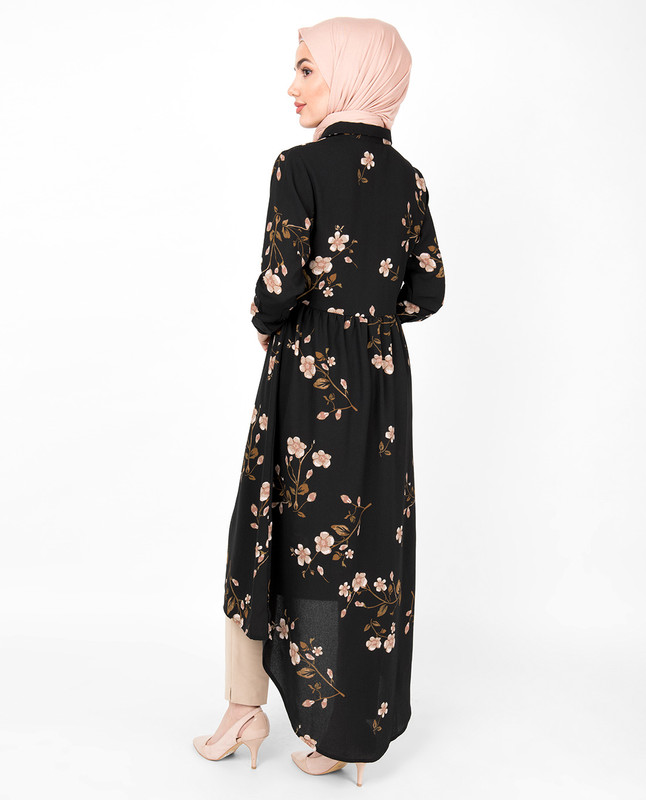 Black Floral Bold Button High Low Midi