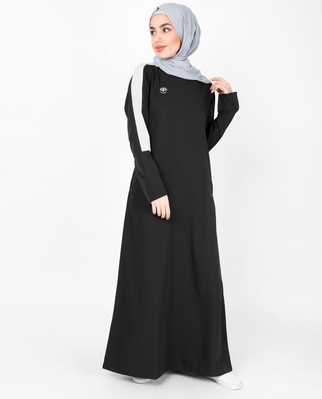 Black Contrast Tape Jilbab