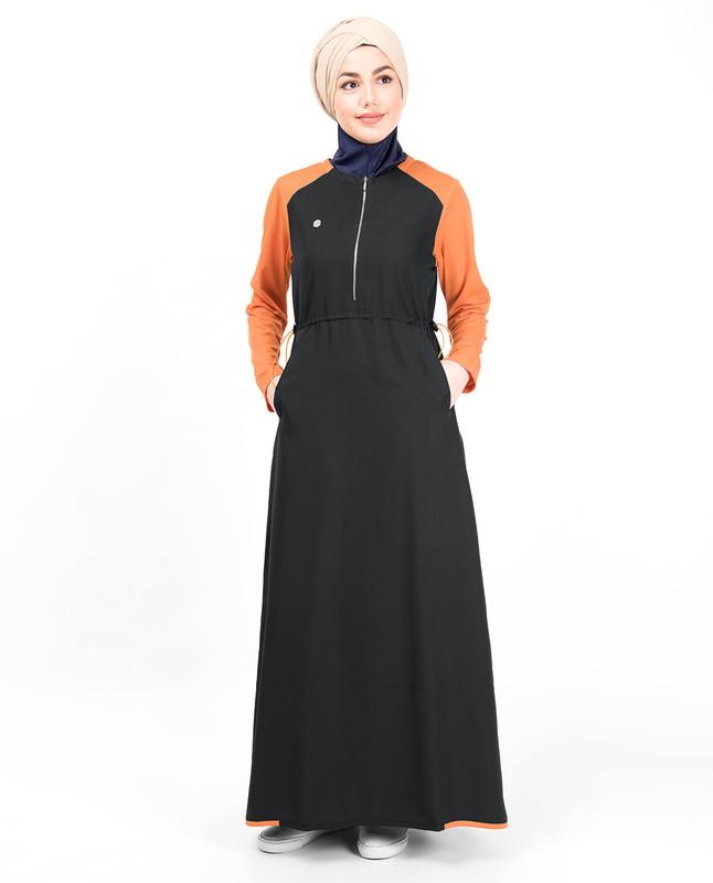 Black & Orange Toggle Zipper Jilbab