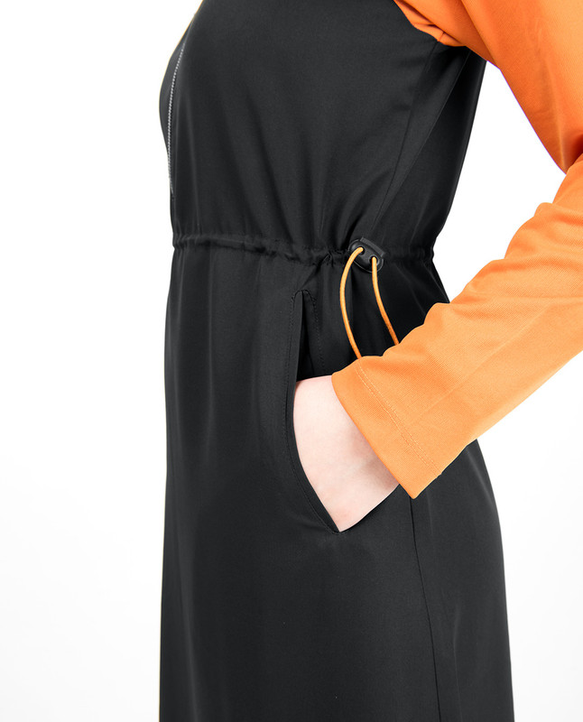 Black & Orange Toggle Zipper Jilbab