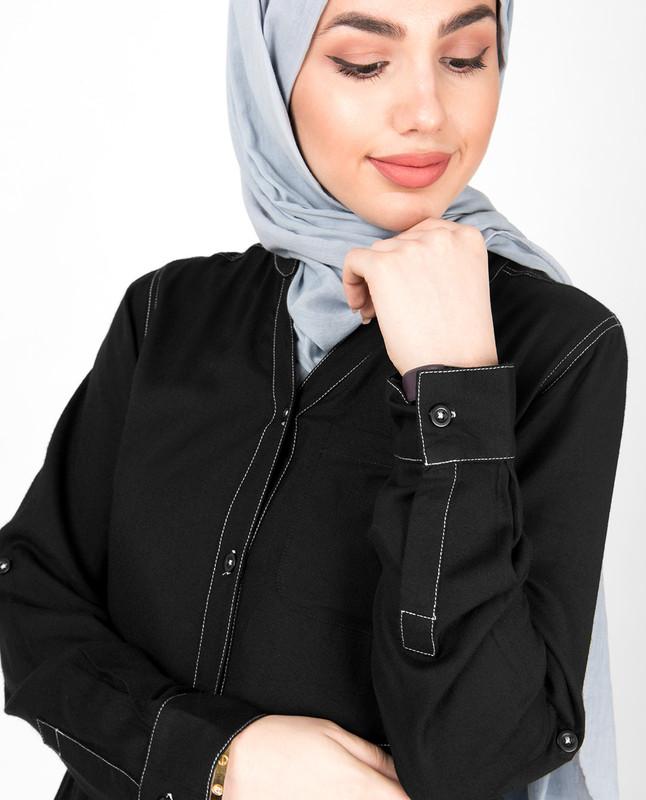 Black Gathered Full Front Open Abaya