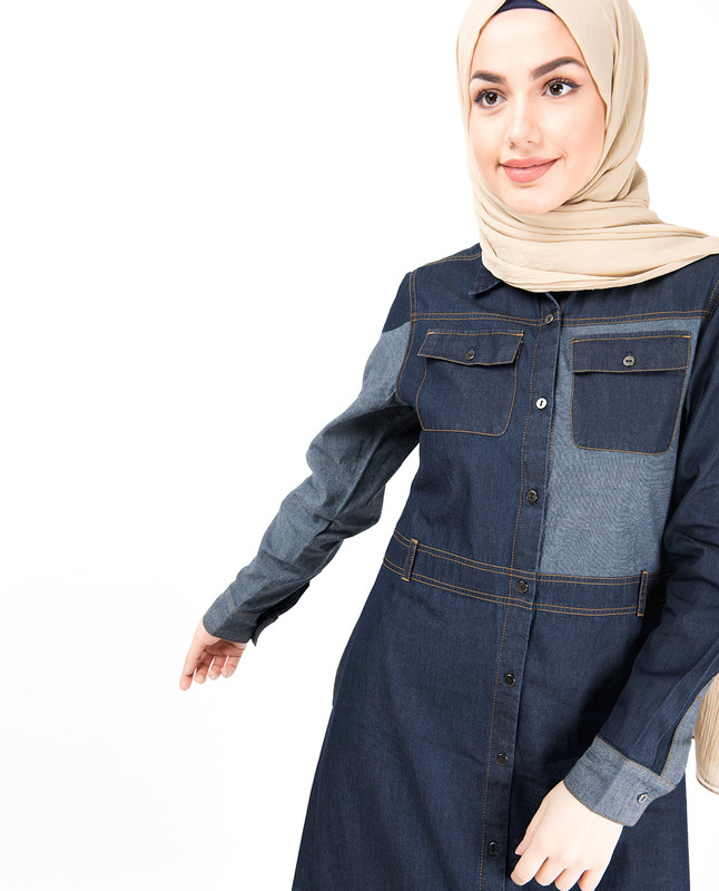 Contrast Chambray Full Front Open Denim Abaya