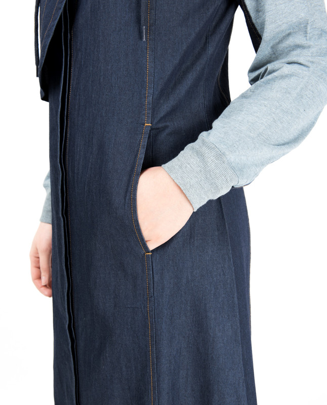 Detachable Hoodie Deep Denim Abaya