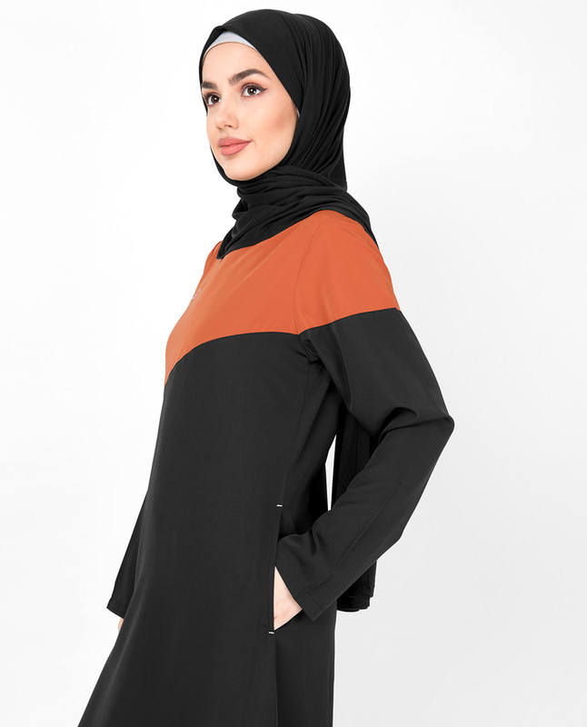Black & Orange Diagonal Contrast Jilbab