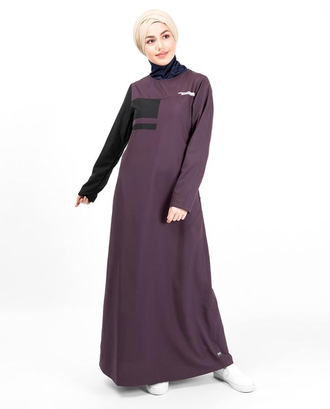 Plum & Black Button Neck Jilbab