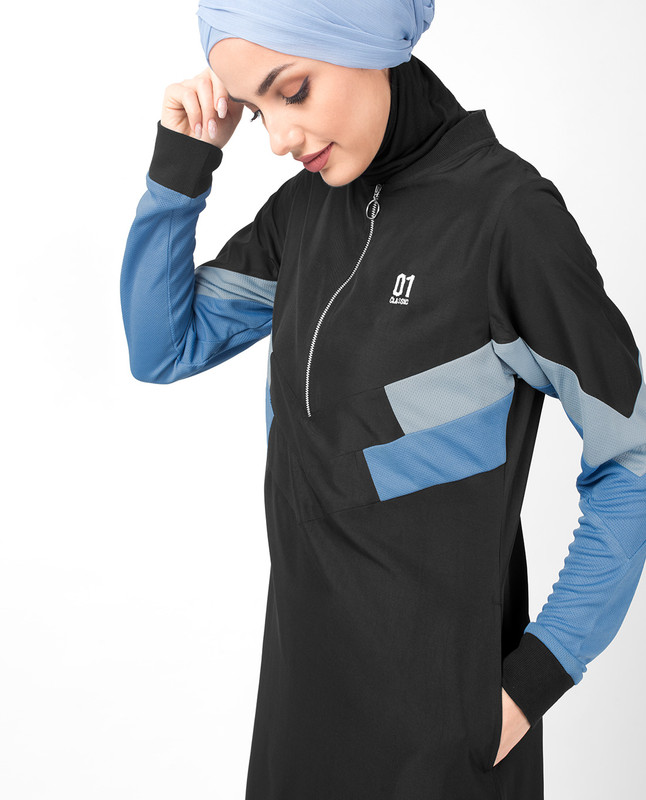 Black & Allure Blue Zipper Jilbab