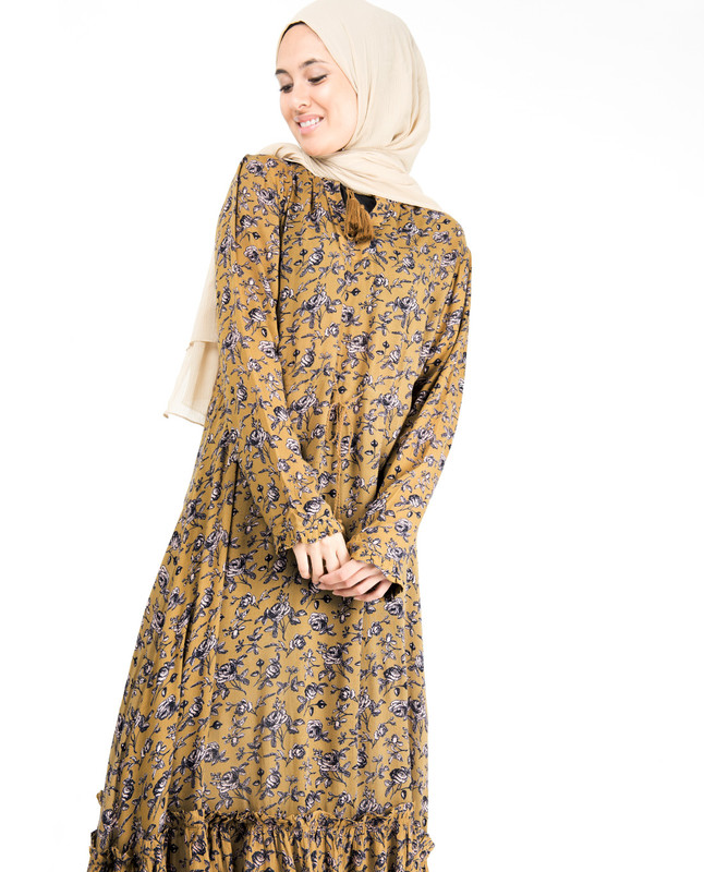 Floral Inverted Pleat Gauze Mustard Midi Dress