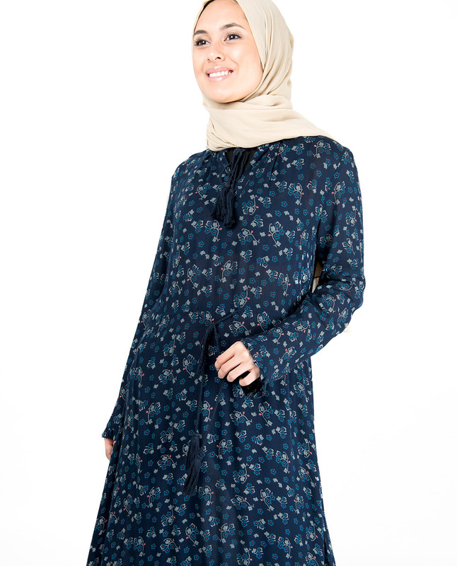 Floral Inverted Pleat Gauze Navy Midi Dress